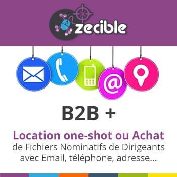 Fichiers B2B+ Décideurs & Dirigeants d'Entreprises - Email SMS téléphone Fax Postal - location & achat